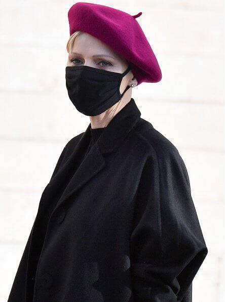 Princess Gabriella wore a pink coat and skirt from Dior. Princess Charlene wore a coat from Akris