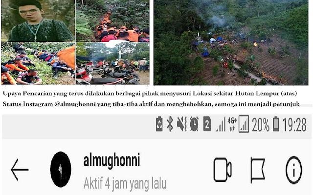 Beredar Kabar Status Instagram Sempat Aktif, Keberadaan Al Mughonni Masih Menjadi Misteri