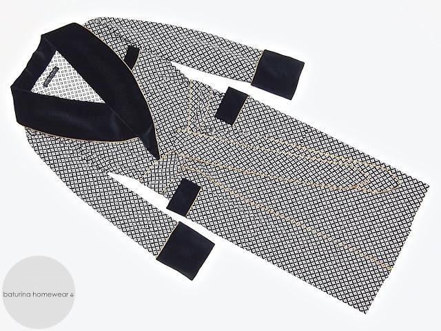 Men's cotton velvet dressing gown dark navy blue long warm robe