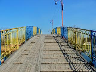 Новомосковск. Деревянный пешеходный мост через Самару