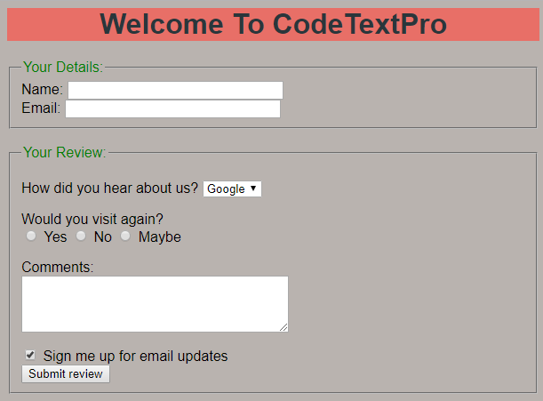 Feedback Form in HTML and CSS