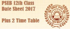 Punjab Plus2 Time Table 2017