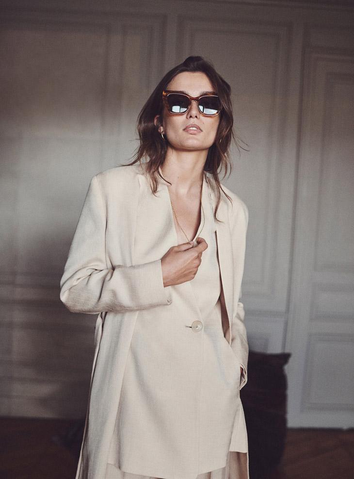 Model Andreea Diaconu poses in Massimo Dutti Perfect Companion summer 2021 editorial.