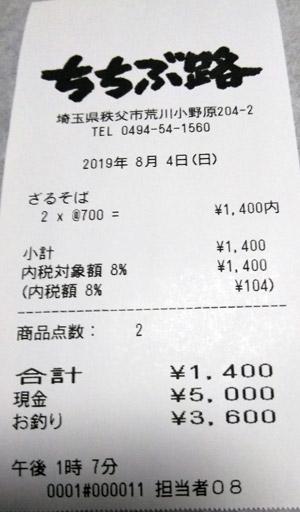 ちちぶ路 2019/8/4 飲食のレシート