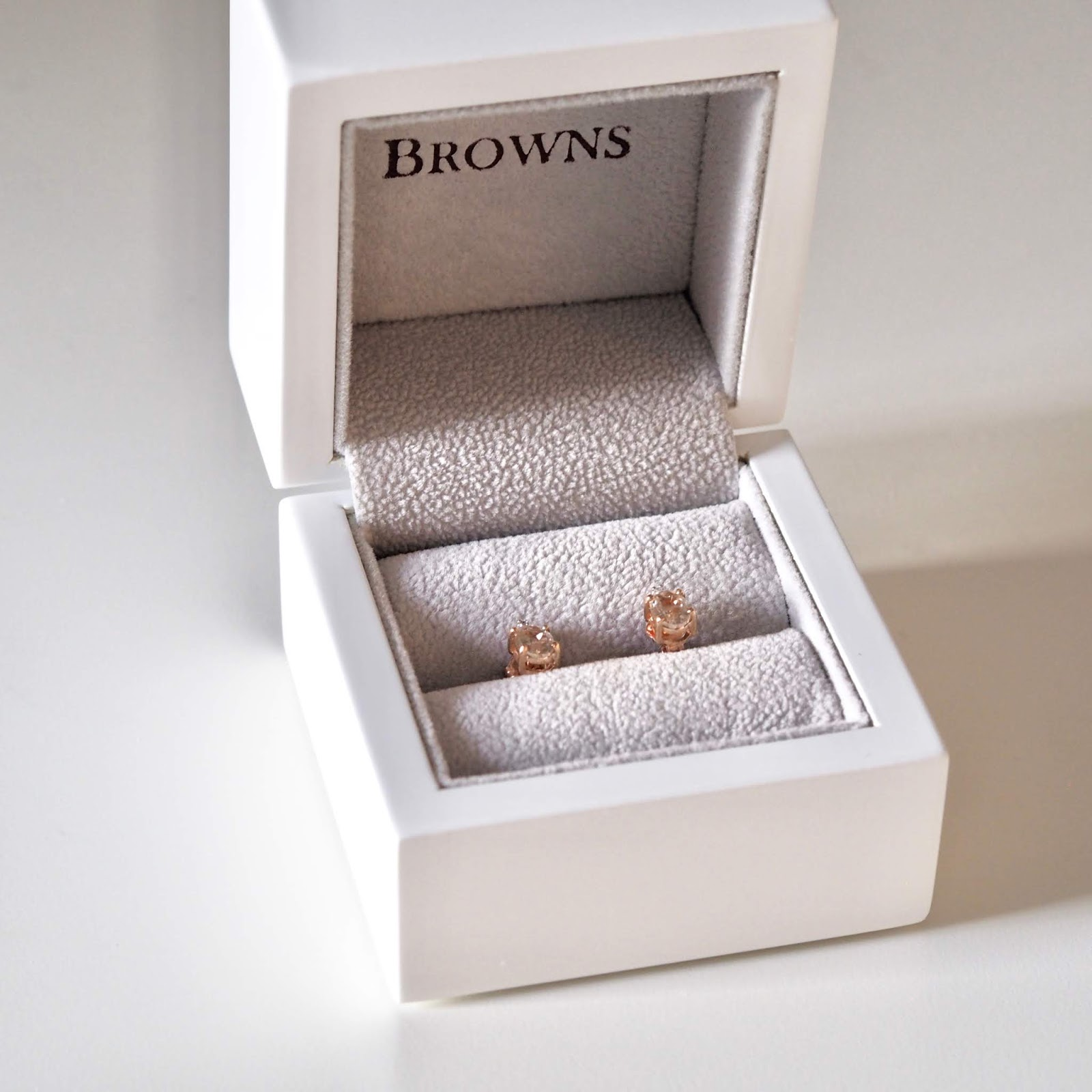 rose gold morganite and diamond stud earrings from Browns jewellers in Yorkshire
