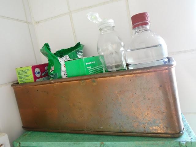 Minimalist cleaning kit - vinegar, soda crystals, oxy bleach, soap
