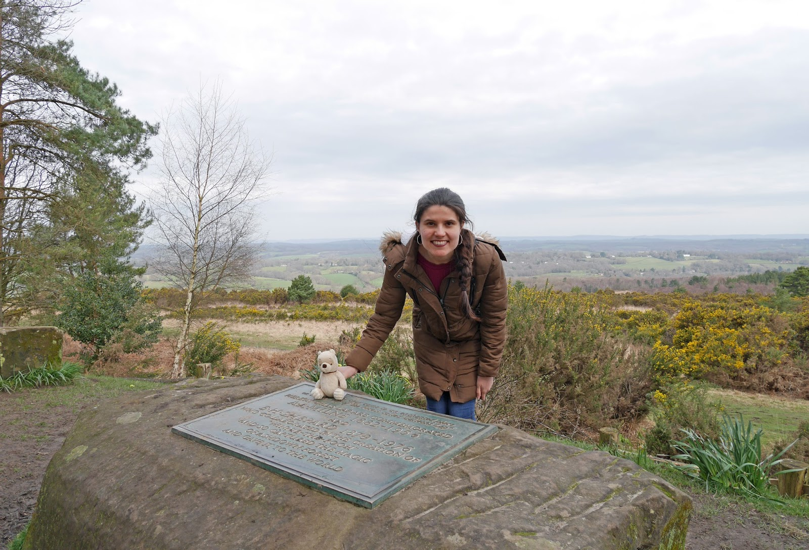 Kat Last at the A. A. Milne and E. H. Shepard Memorial in Ashdown Forest, East Sussex