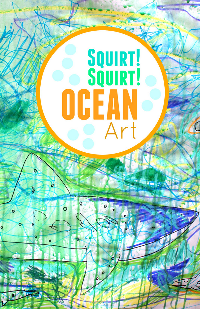 Squirt Squirt Ocean Art- Fun process Art activity for kids that involves spray guns and water!