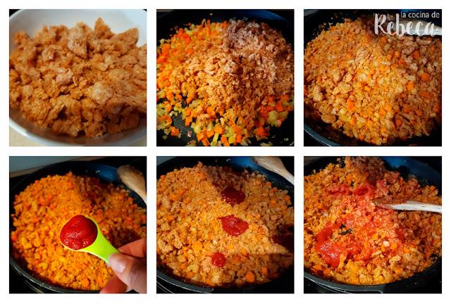 Receta de espaguetis con boloñesa de soja (sojañesa): elaboración de la boloñesa de soja 01