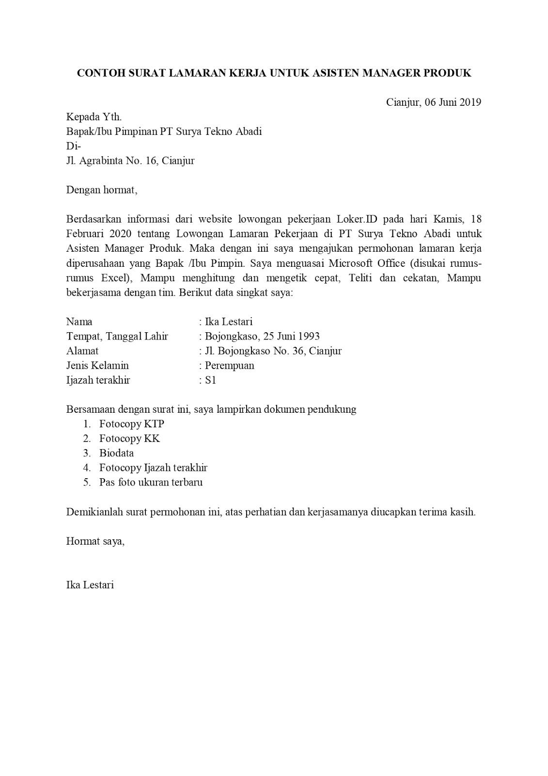 Contoh Surat Lamaran Pekerjaan Untuk Manajemen Tanpa Koma