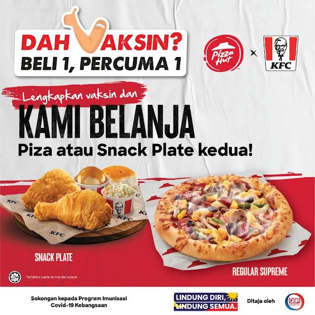 KFC Belanja Snack Plate Untuk yang dah Lengkap Vaksin