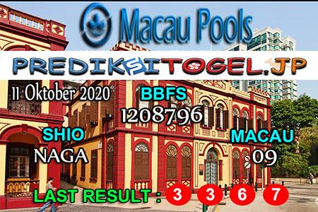 Prediksi Togel Wangsit Macau Pools Minggu 11 Oktober 2020