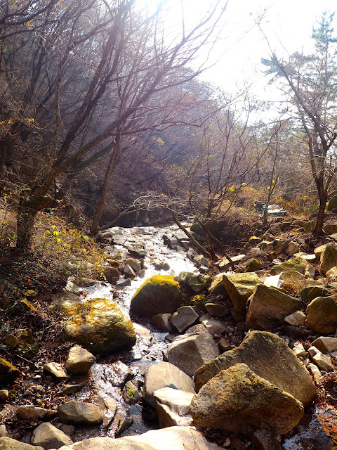 Rocky stream in the autumn forest on a hiking trail on Geumjeongsan Mountain, Busan, South Korea