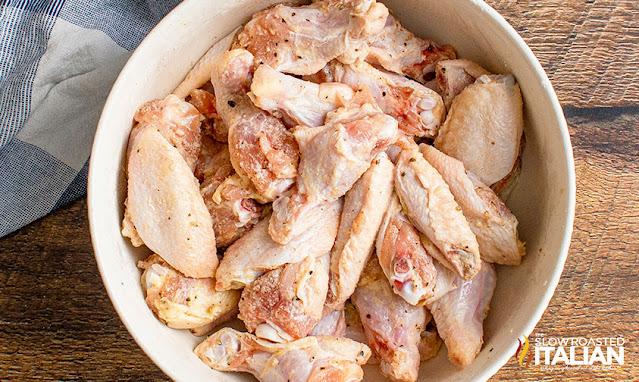 air fryer chicken wings tossed in seasoning