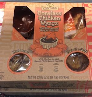 A box of Kirkwood Boneless Chicken Wyngz, from Aldi