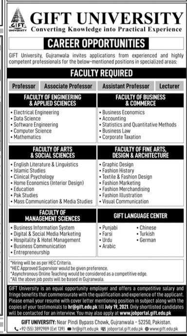 Gift University Educational Jobs 2021