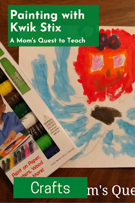 Text: Painting with Kwik Stix; Crafts; background image of octopus painted with Kwik Stix