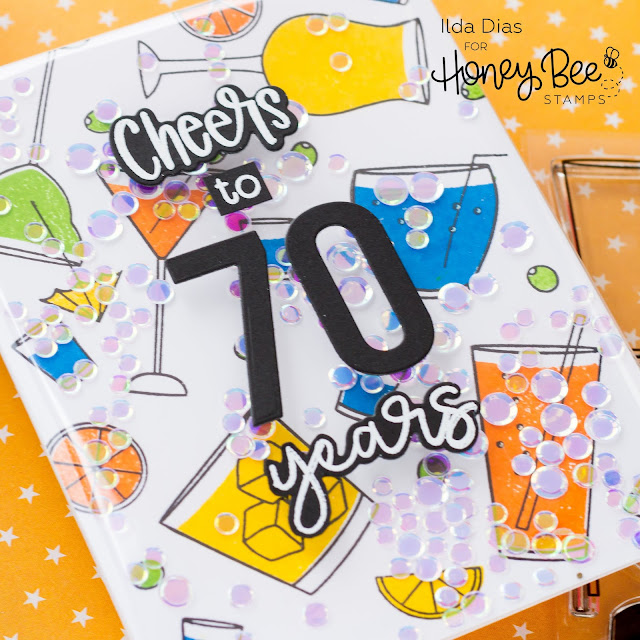 Cheers, 70 Years, Frameless Shaker, Birthday Card, Honey Bee Stamps, Card Making, Stamping, Die Cutting, handmade card, ilovedoingallthingscrafty, Stamps, how to, Atelier Inks, Raise A Glass,