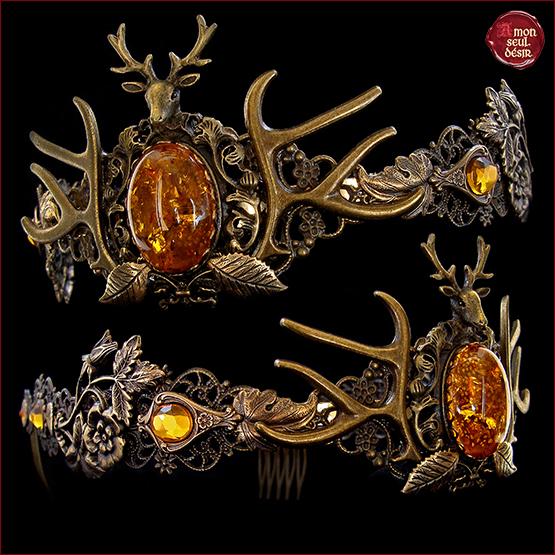 couronne medievale cerf pagan reine fantasy ambre jaune bronze