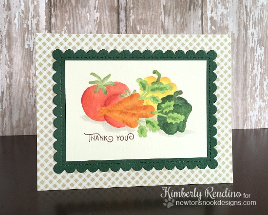 No Line Coloring Veggie Card by Kimberly Rendino | Vegetable Garden stamp set by Newton's Nook Designs #newtonsnook