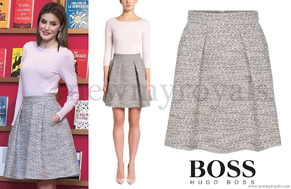 Queen Letizia wore HUGO Rizalia Flared skirt, top