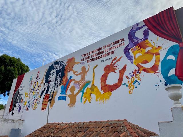 Cultural centre mural in Mogan, Gran Canaria, Spain