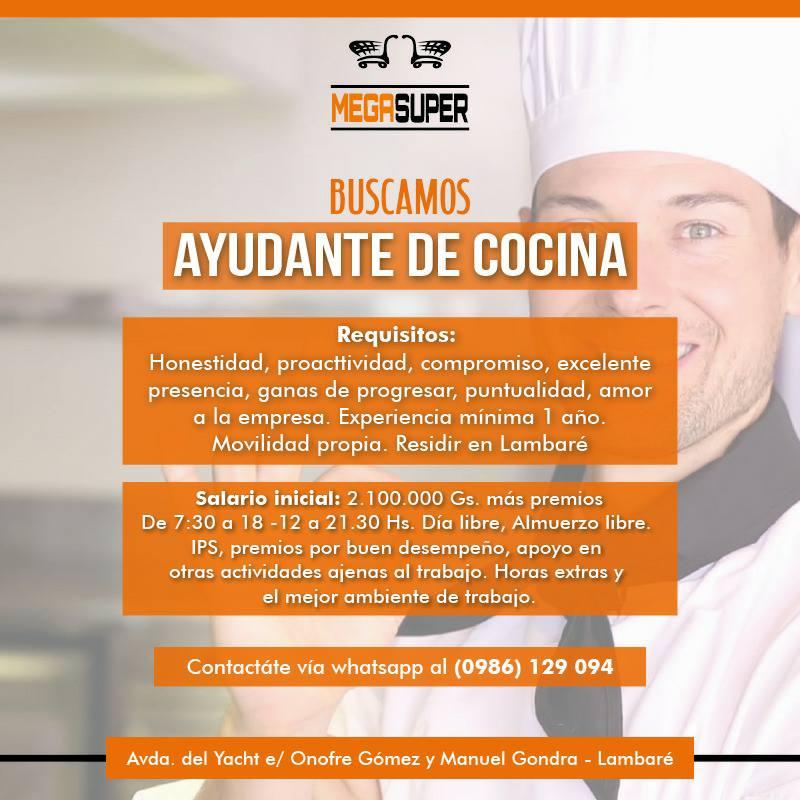 bolsa de trabajo paraguay empleos ayudante de cocina