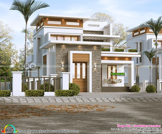 Flat roof modern 2 bedroom house rendering