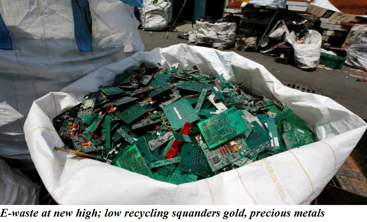 E-waste at new high; low recycling squanders gold, precious metals