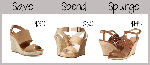 three pairs of espadrille wedges