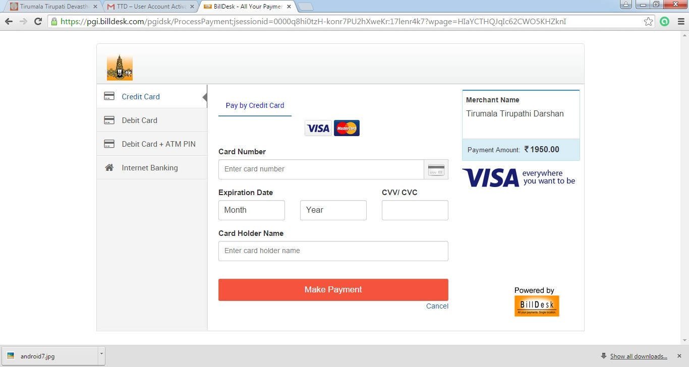 Online Procedure for Booking TTD 300Rs Tickets: 2015