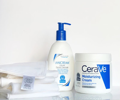 I wash my rosacea prone skin with vanicream cleanser and Fairface Washcloths and moisturize with CeraVe cream