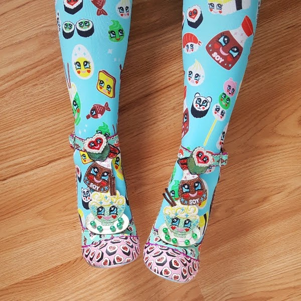 wearing sushi themed shoes and tights