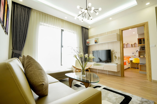 Thiết kế phòng khách loại căn hộ 2 ngủ 67m2