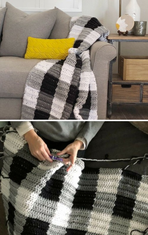 Crochet Buffalo Check Gingham Blanket - Free Pattern