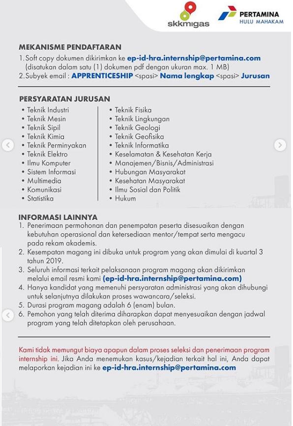 Program Apprenticeship PT Pertamina Hulu Mahakam Tahun 2019