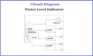 Circuit diagram of water level indicator