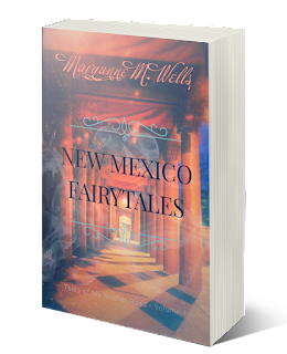 Audiobook cover. Mysterious passageway with red pillars, banners, mist. New Mexico Fairytales. Tales of My Mother Road Volume 1. Maryanne M. Wells.