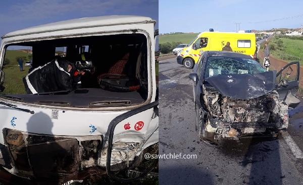 حادث مرور خطير في إصطدام سيارة بحافلة نقل بعين مران