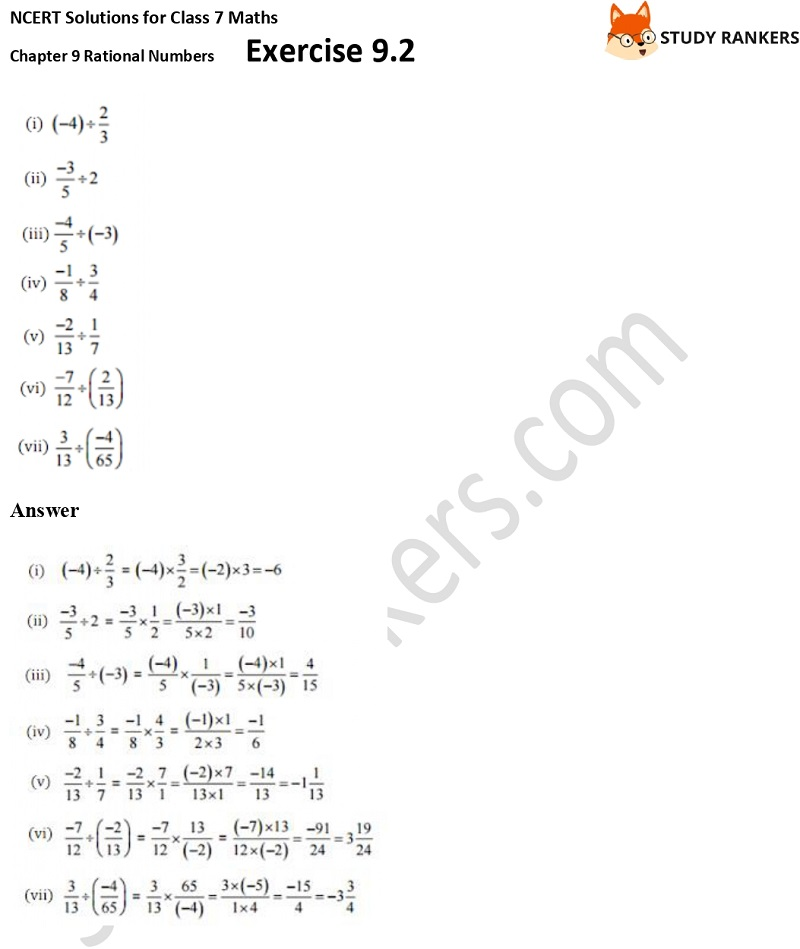 NCERT Solutions for Class 7 Maths Ch 9 Rational Numbers Exercise 9.2 5