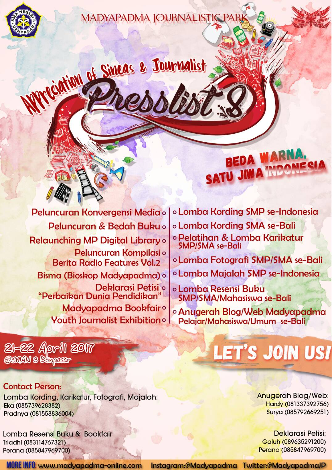 Event Lomba Presslist 8 by SMA Negeri 3 Denpasar 2017
