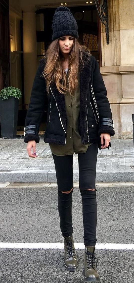 trendy winter outfit idea / knit hat + black jacket + shirt + ripped jeans + boots