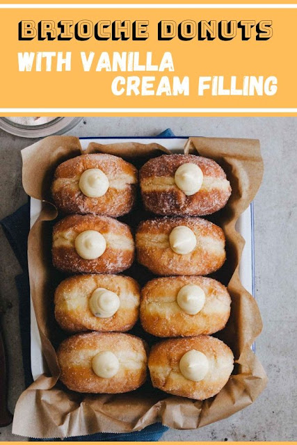 Brioche Donuts with Vanilla Cream Filling #Brioche #Donuts #with #Vanilla #Cream #Filling Dessert Recipes Easy,