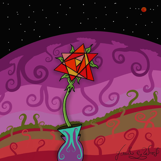 digital art of beautiful red rose in purple outer space