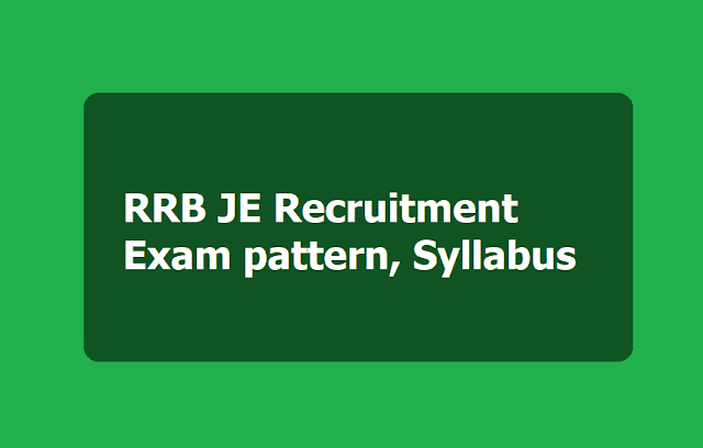 RRB JE Recruitment 2019 Exam pattern, Syllabus