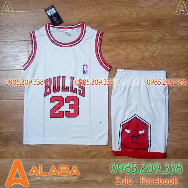 Áo bóng rổ nam Bulls màu trắng hot