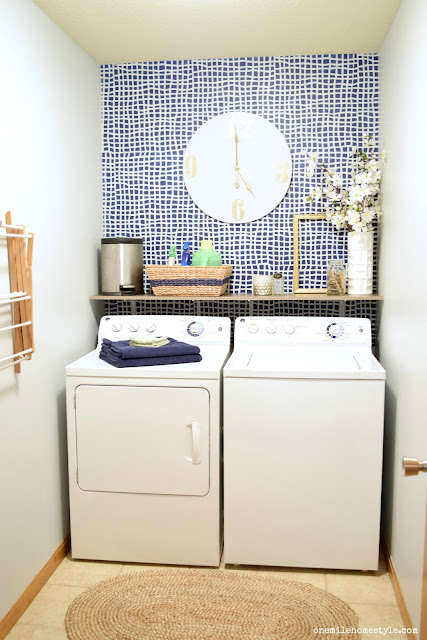 Navy and Grey Laundry Room Makeover with neutral accents- One Mile Home Style