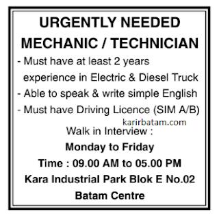 Lowongan Kerja Sebagai Mekanik atau Teknisi (Januari 2021)