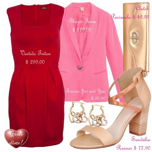 Combinação de rosa com vermelho