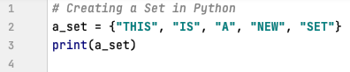 Creating a set in Python